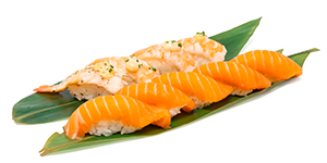 Lax och räkor. Salmon and shrimps.