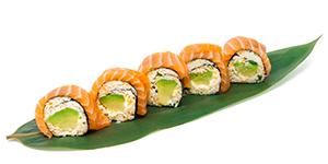 Maki utan ris, lax och krabbröra. Maki without rice, salmon and crab mix.