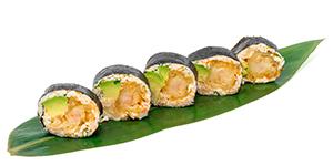 Maki utan ris, tempura. Maki without rice, tempura.
