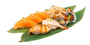 Lax, räkor/shrimps maki